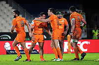 The Jaguares celebrate at the final whistle of the Super Rugby match between the Chiefs and Jaguares at Rotorua International Stadum in Rotorua, New Zealand on Friday, 4 May 2018. Photo: Dave Lintott / lintottphoto.co.nz