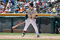 Zach Borenstein (13) of the Salt Lake Bees at bat against the Fresno Grizzlies at Smith's Ballpark on May 26, 2014 in Salt Lake City, Utah.  (Stephen Smith/Four Seam Images)