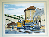 Artist's depiction of D&amp;RGW #268 in &quot;Grande Gold&quot; at Sargent water tank.<br /> D&amp;RGW  Sargent, CO  Taken by Coker, John (Artist)