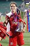 Olympique Lyonnais' Amel Majri celebrates the victory in the UEFA Women's Champions League 2015/2016 Final match.May 26,2016. (ALTERPHOTOS/Acero)
