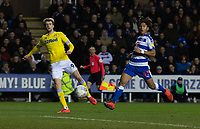 Leeds United's Patrick Bamford (left) under pressure from Reading's Danny Loader (right)  <br /> <br /> Photographer David Horton/CameraSport<br /> <br /> The EFL Sky Bet Championship - Reading v Leeds United - Tuesday 12th March 2019 - Madejski Stadium - Reading<br /> <br /> World Copyright &copy; 2019 CameraSport. All rights reserved. 43 Linden Ave. Countesthorpe. Leicester. England. LE8 5PG - Tel: +44 (0) 116 277 4147 - admin@camerasport.com - www.camerasport.com