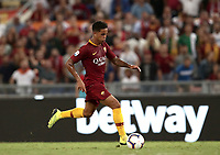 Calcio, Serie A: Roma - Atalanta, Stadio Olimpico, 27 agosto, 2018.<br /> Roma's Justin Kluivert in action with during the Italian Serie A football match between Roma and Atalanta at Roma's Stadio Olimpico, August 27, 2018.<br /> UPDATE IMAGES PRESS/Isabella Bonotto
