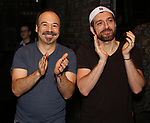 "Danny Burstein and Tam Mutu during the Broadway Opening Night Legacy Robe Ceremony honoring Bahiyah Hibah for  ""Moulin Rouge! The Musical"" at the Al Hirschfeld Theatre on July 25,2019 in New York City."