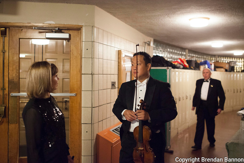 Joann Falletta and concert master Dennis Kim. Falletta  has been Musical Director of The Buffalo Philharmonic Orchestra since 1999. Kleinhans Music Hall, Buffalo, NY.  10/16/16. Photo by Brendan Bannon