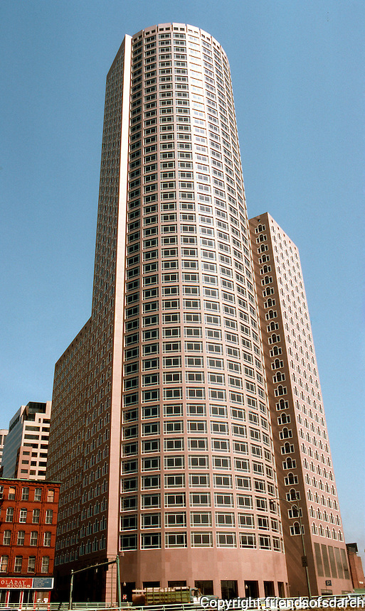John Burgee Architects with Philip Johnson: International Place, Boston 1986-89. East elevation, morning.  Photo '88.