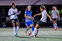 Boston, MA - Saturday September 30, 2017: Mandy Freeman, Tiffany Weimer and Dominique Richardson during a regular season National Women's Soccer League (NWSL) match between the Boston Breakers and Sky Blue FC at Jordan Field.
