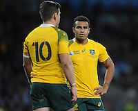 Will Genia of Australia talks to Bernard Foley of Australia during the Semi Final of the Rugby World Cup 2015 between Argentina and Australia - 25/10/2015 - Twickenham Stadium, London<br /> Mandatory Credit: Rob Munro/Stewart Communications