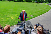 United States President Donald J. Trump takes questions from the media prior to depart the White House in Washington, DC on Friday, May 24, 2019 en route to Japan.  His took questions on the continuing controversy about the Mueller Report.<br /> Credit: Ron Sachs / CNP<br /> (RESTRICTION: NO New York or New Jersey Newspapers or newspapers within a 75 mile radius of New York City)