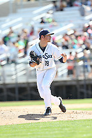 Anthony Misiewicz (18) of the Everett AquaSox pitches during a game against the Vancouver Canadians at Everett Memorial Stadium on July 28, 2015 in Everett, Washington. Everett defeated Vancouver, 8-5. (Larry Goren/Four Seam Images)