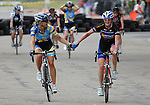 June 20, 2010:  Criterium winner, Tread's, Megan Hottman (l) is congratulated by Colorado Bike Law's, Terrie Clouse (r) following the 2010 Women's Pro Criterium, Niwot, Colorado.