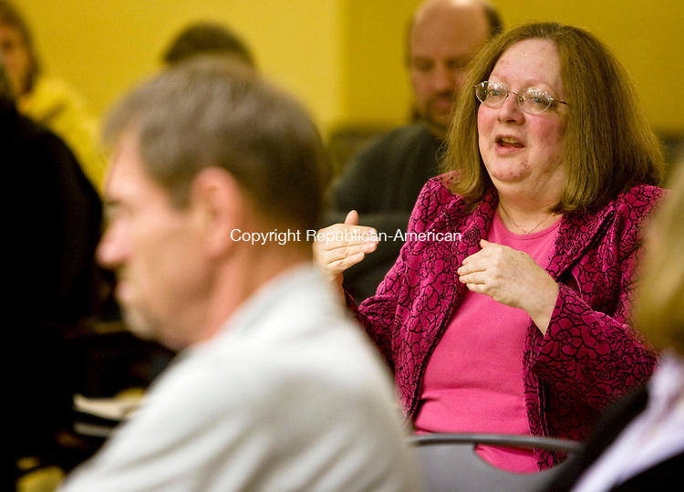 WOODBURY, CT - 19 APRIL 2010 -041910JT09-<br /> Patricia Lunn, director of the Woodbury Public Library, speaks against suggested cuts to the library during Monday's meeting about Woodbury's proposed budget at the Senior and Community Center.<br /> Josalee Thrift Republican-American