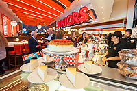 Display of cheesecakes at the ceremonial ribbon cutting of the second Times Square branch of Junior's Restaurant. in the former Ruby Foo's space, on Monday, June 26, 2017. The original Junior's is located in Downtown Brooklyn and is beloved for it's famous cheesecake. Junior's has opened a second space in Times Square in the now closed Ruby Foo's location. The new restaurant seats 300 people. (© Richard B. Levine)