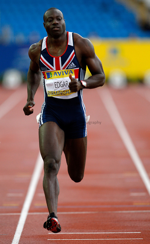 Photo: Richard Lane/Richard Lane Photography. .Aviva National Championships, Incorporating the Team GB Selection Trials, Birmingham. 11/07/2008. Tyrone Edgar in a men's 100m heat.