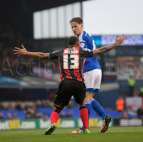 03.04.2015.  Ipswich, England. Skybet Championship. Ipswich Town versus AFC Bournemouth. Bournemouth's Callum Wilson appeals for a penalty.