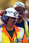 Pix: Shaun Flannery/shaunflanneryphotography.com...COPYRIGHT PICTURE>>SHAUN FLANNERY>01302-570814>>07778315553>>..21st September 1999...........HRH Princess Ann emerges from Harworth Colliery, Notts after her visit to the coal face..Also pictured is Richard Budge (right)