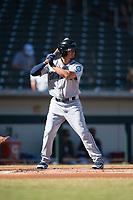 Peoria Javelinas third baseman Chris Mariscal (19), of the Seattle Mariners organization, at bat during an Arizona Fall League game against the Mesa Solar Sox at Sloan Park on November 6, 2018 in Mesa, Arizona. Mesa defeated Peoria 7-5 . (Zachary Lucy/Four Seam Images)