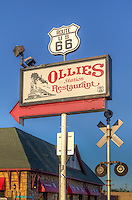 Ollies Station Resturant located on Route 66 in Tulsa Oklahoma.  The old cafe style is enhanced by the railroad motif. Ten running trains, from G-scale to Z-scale, run the length of the dining room and through scale model cities and towns. Our walls and shelves abound with railroad memorabilia. Ollies is located in old downtown Redfork on a corner that's been here since 1894.