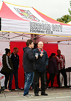 Lincoln City fans enjoy the pre-match atmosphere in the club's fan zone<br /> <br /> Photographer Chris Vaughan/CameraSport<br /> <br /> The EFL Sky Bet League Two - Lincoln City v Chesterfield - Saturday 7th October 2017 - Sincil Bank - Lincoln<br /> <br /> World Copyright &copy; 2017 CameraSport. All rights reserved. 43 Linden Ave. Countesthorpe. Leicester. England. LE8 5PG - Tel: +44 (0) 116 277 4147 - admin@camerasport.com - www.camerasport.com