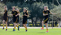 20180303 - LARNACA , CYPRUS :  illustration picture shows the group with Yana Daniels , Laura Deloose ,  Davina Philtjens and Jana Coryn (r) warming up during a Matchday -2 training from The Belgian Red Flames prior to their game against Austria , on Saturday 3 March 2018 at the Alpha Sports Grounds in Larnaca , Cyprus . This will be the third game in group B for Belgium during the Cyprus Womens Cup , a prestigious women soccer tournament as a preparation on the World Cup 2019 qualification duels. PHOTO SPORTPIX.BE | DAVID CATRY