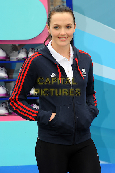 Victoria Pendleton.The Samsung Hope Relay Launch held at Potter's Field, Southbank,  London, England..May 14th, 2012.half length blue red stripe top black hands in pockets.CAP/CJ.©Chris Joseph/Capital Pictures.
