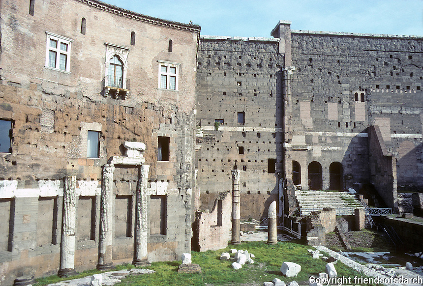 """Italy: Rome--Forum of Trajan, Ruins of Trajan Market. Of the curvilinear walls, the guidebook says Bernini """"most probably"""" influenced in designing Piazza S. Pietro. Photo '82."""