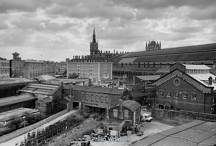 St Pancras Station, the German Gymnasium and buildings behind King's Cross station, 1990