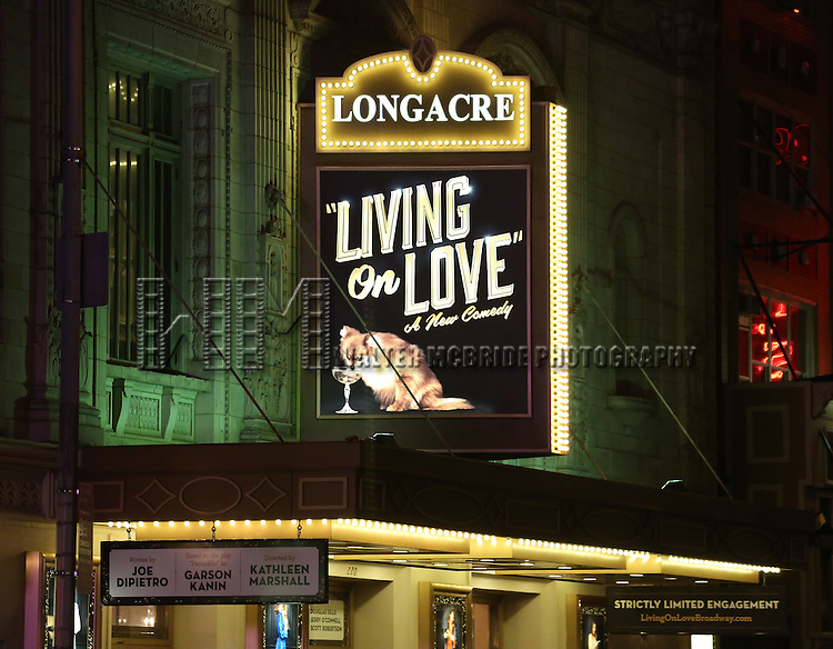 Theatre Marquee for the Broadway Opening Night Performance of 'Living on Love' at The Longacre Theatre on April 20, 2015 in New York City.