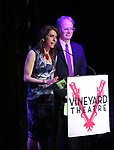 Sarah Stern and Douglas Aibel on stage during the Vineyard Theatre Gala 2018 honoring Michael Mayer at the Edison Ballroom on May 14, 2018 in New York City.