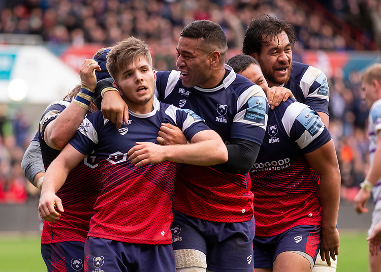 Bristol Bears' Harry Randall celebrates scoring his side's fourth try with team mates<br /> <br /> Photographer Bob Bradford/CameraSport<br /> <br /> Gallagher Premiership - Bristol Bears v Leicester Tigers - Saturday 1st December 2018 - Ashton Gate - Bristol<br /> <br /> World Copyright &copy; 2018 CameraSport. All rights reserved. 43 Linden Ave. Countesthorpe. Leicester. England. LE8 5PG - Tel: +44 (0) 116 277 4147 - admin@camerasport.com - www.camerasport.com