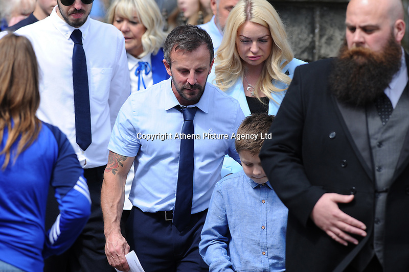 Pictured: Bryan Price Father of Carson arrives for the funeral at Gelligaer Church, in Gelligaer, Wales, UK Tuesday 07 May 2019<br /> Re: Funeral of 13 year old Carson Price at Gelligaer Church, in Gelligaer, Wales, UK.<br /> Schoolboy Carson Price was found at a park in Ystrad Mynach, south Wales at the start of the Easter school holidays.<br /> It is believed he had taken MDMA Donkey Kong tablets.