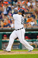 Prince Fielder (28) of the Detroit Tigers follows through on his swing against the Los Angeles Angels at Comerica Park on June 25, 2013 in Detroit, Michigan.  The Angels defeated the Tigers 14-8.  (Brian Westerholt/Four Seam Images)