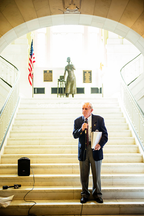 Waterbury, CT- 11 November 2016-111116CM03- John A. Sarlo vice chairman of the Waterbury Veterans Memorial Committee, addresses audience members during a Veterans Day ceremony at Waterbury City Hall on Friday.     Christopher Massa Republican-American