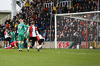 Troy Deeney (9) of Watford scores the second goal for his team and celebrates during Woking vs Watford, Emirates FA Cup Football at The Laithwaite Community Stadium on 6th January 2019