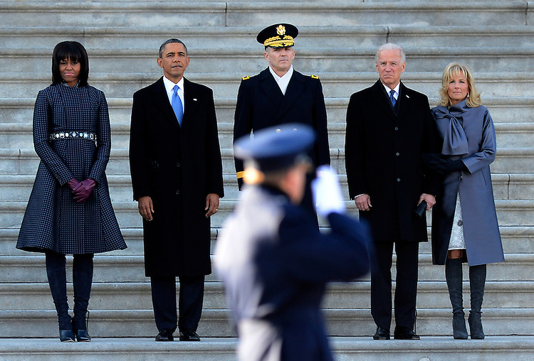 US President Barack Obama (2L) his wife Michelle Obama (L), Vice President Joe Biden (2R) and his wife Dr Jill Biden (R) and US Army Major General Michael J. Linnington (C) during the Presidential review of the troops on the east side of the United States Capitol following Obama's Inaugural address and ceremonially swearing in for a second term as the 44th President of the United States in Washington, DC, USA, 21 January 2013. Obama defeated Republican candidate Mitt Romney on Election Day 06 November 2012 to be re-elected for a second term.