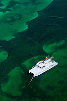 Aerial view of fishing boat, Florida Keys, Florida USA