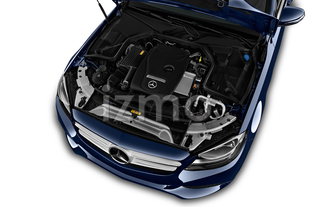Car stock 2017 Mercedes Benz C Class Base 4 Door Sedan engine high angle detail view