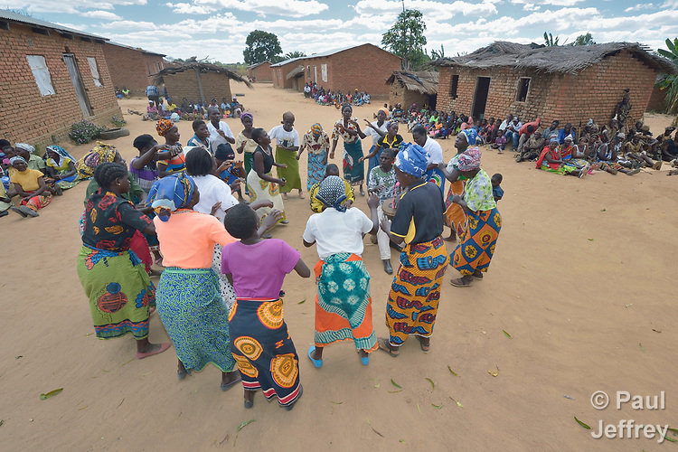Women sing and dance in Kalikumbi, Malawi, part of an educational program promoting good health. The Maternal, Newborn and Child Health program of the Livingstonia Synod of the Church of Central Africa Presbyterian has helped families in this village to stay healthy.
