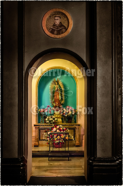 Painting of Fr. Junipero Serra and shrine to Our Lady of Guadalupe in the Basilica Chapel (built 1918), Mission San Francisco de Asís (Mission Dolores), sixth mission founded in California by Fr. Junipero Serra June 29, 1776.