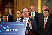 United States Representative Peter Roskam (Republican of Illinois) makes remarks as US Senate and House Republicans announce their new tax plan endorsed by US President Donald J. Trump in the US Capitol in Washington, DC on Wednesday, September 27, 2017. Photo Credit: Ron Sachs/CNP/AdMedia