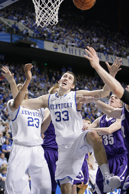 Kyle Wiltjer fights for a rebound against Portland at Rupp Arena on Saturday, Nov. 26, 2011. Photo by Scott Hannigan | Staff