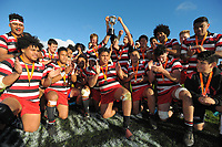 The Counties team celebrates winning the Jock Hobbs Memorial Under-19 Rugby Tournament Michael Jones Trophy championship final between Counties Manukau and Southland at Owen Delany Park in Taupo, New Zealand on Saturday, 16 September 2012. Photo: Dave Lintott / lintottphoto.co.nz