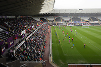 Wednesday, 23 April 2014<br /> Pictured: Players training infront of approximately 5000 supporters.<br /> Re: Swansea City FC are holding an open training session for their supporters at the Liberty Stadium, south Wales,
