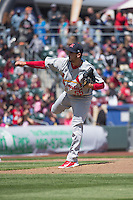 Miguel Socolovich (55) of the Memphis Redbirds delivers a pitch to the plate against the Omaha Storm Chasers in Pacific Coast League action at Werner Park on April 22, 2015 in Papillion, Nebraska.  (Stephen Smith/Four Seam Images)