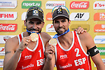 31.05.2015, Moskau, Vodny Stadion<br /> Moskau Grand Slam, Siegerehrung<br /> <br /> 1. Platz / Gold / Goldmedaille: Pablo Herrera / Adrian Gavira (ESP)<br /> <br />   Foto &copy; nordphoto / Kurth