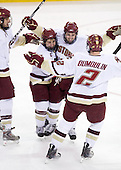 Carl Sneep (BC - 7), Joe Whitney (BC - 15), Cam Atkinson (BC - 13), Brian Dumoulin (BC - 2) - The Boston College Eagles defeated the University of Massachusetts-Amherst Minutemen 6-5 on Friday, March 12, 2010, in the opening game of their Hockey East Quarterfinal matchup at Conte Forum in Chestnut Hill, Massachusetts.