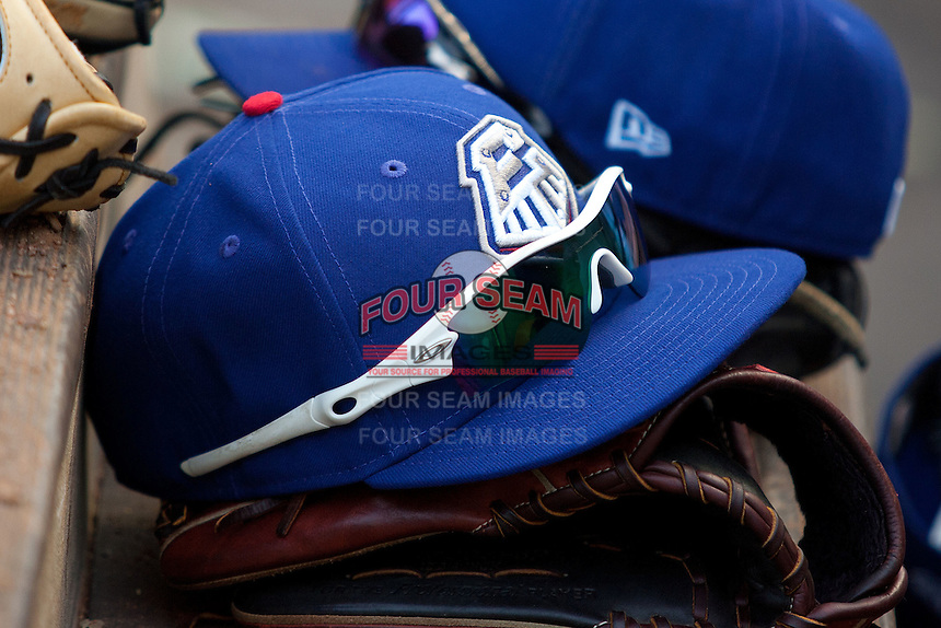 Round Rock Express hat during the MLB exhibition baseball game against the Texas Rangers on April 2, 2012 at the Dell Diamond in Round Rock, Texas. The Rangers out-slugged the Express 10-8. (Andrew Woolley / Four Seam Images).