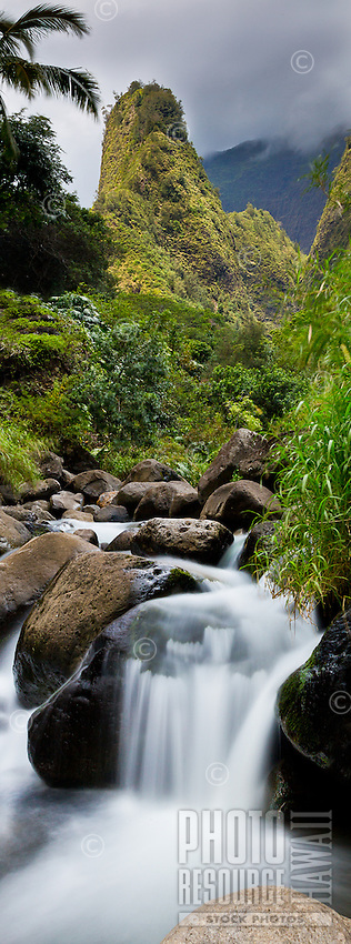 The 'Iao Needle backs a stream running through lush 'Iao Valley, West Maui.