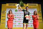 Breakaway man Jerome Cousin (FRA) Direct Energie wins the days combativity award at the end of Stage 4 of the 2018 Tour de France running 195km from La Baule to Sarzeau, France. 10th July 2018. <br /> Picture: ASO/Alex Broadway | Cyclefile<br /> All photos usage must carry mandatory copyright credit (&copy; Cyclefile | ASO/Alex Broadway)