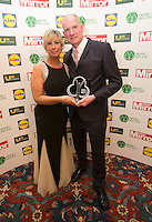 19/05/2015 <br /> (L to R),Anne Maire Norman &amp; husband   Jimmy Norman with his award<br /> during the Irish mirror pride of Ireland awards at the mansion house, Dublin.<br /> Photo: gareth chaney Collins