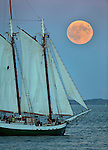 A Supermoon rises over Boston Harbor as the Yankee Clipper tall ship sails past ahead of a total lunar eclipse on Sunday, September 27, 2015. Photo by Christopher Evans